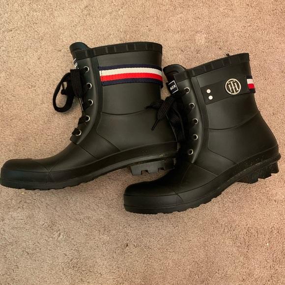 tommy hilfiger lace up rain boots